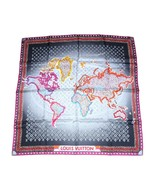 "Louis Vuitton Bufanda World map 86 CM Monograma Seda 34"" Inch Gris Viole... - $528.98"