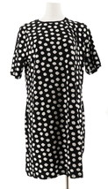 Isaac Mizrahi Choice Print Elbow Slv T-Shirt Dress Black Dot S NEW A307531 - $34.63