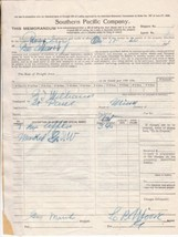 U.S. Southern Pacific Company 1912 Apples Conditions on Reverse Memo Ref... - $7.55