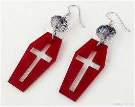 Coffin Earrings, Acrylic Laser Cut, Blood Red, Surgical Steel - Gothic L... - $11.00