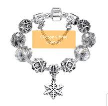 You Personalize - Zinc Alloy Silver Snowflake Charm Bracelet like Pandor... - $12.00