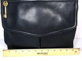 Fossil Vintage Black Leather Multi Pocket Shoulder Bag Brass Tone Hardware image 9