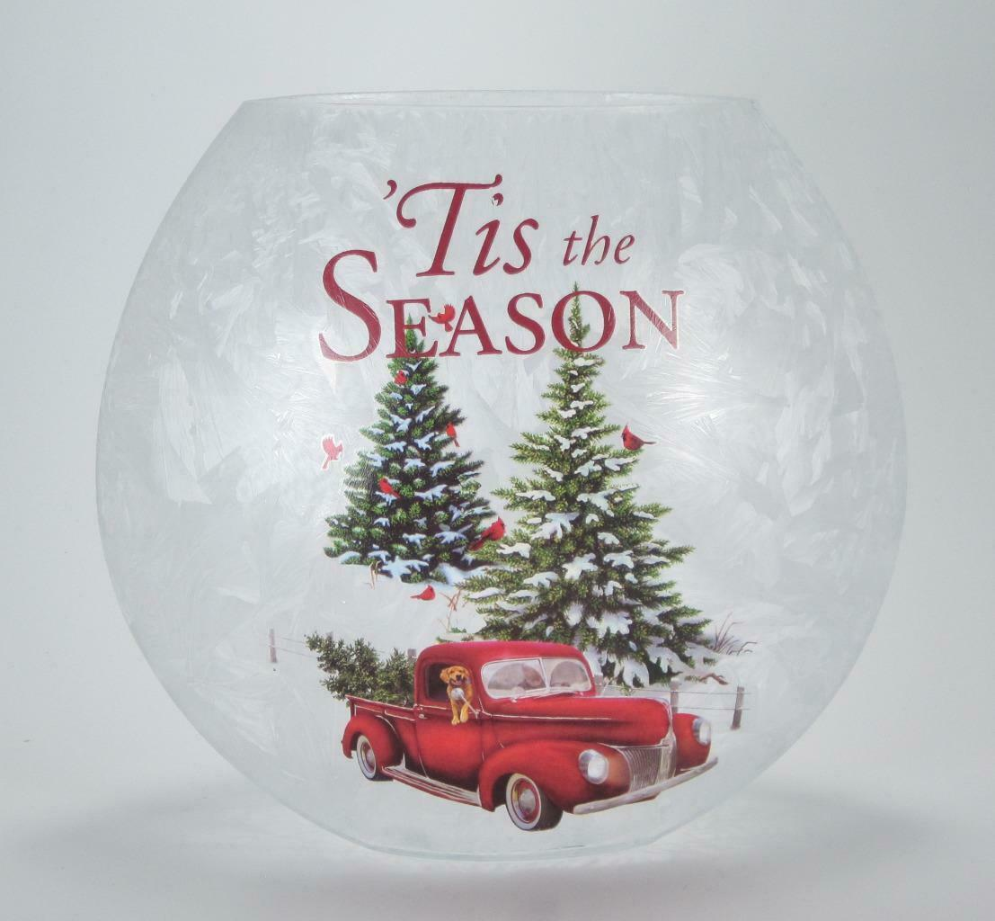 Primary image for LED Frosted Crackle Glass Luminary Vintage Truck Winter Scene Holiday Decor