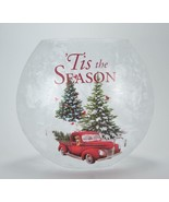 LED Frosted Crackle Glass Luminary Vintage Truck Winter Scene Holiday Decor - $23.71