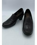Dansko Raphael 37 6.5 7 Dark Brown Leather Heels Shoes Side Elastic - $27.99