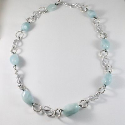 NECKLACE THE ALUMINIUM LONG 60 CM WITH AQUAMARINE NATURAL BLUE BLUE