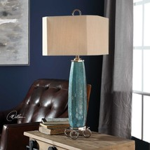 "CABELLA 34"" DESIGNER CHIC TAPERED TEXTURED GLASS TABLE BUFFET LAMP UTTER... - $316.81"