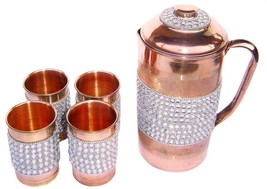 Pure Copper Silver Crystal Studded Jug & 4 Glass Set - $90.10