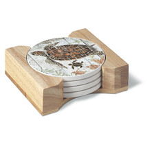 CounterArt Turtles and Sealife Absorbent Coasters in Wooden Holder, Set ... - $23.99