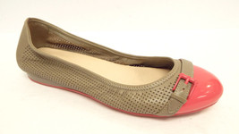 COLE HAAN Size 6.5 Beige Perforated Ballet Flats Pink Cap Toe Shoes 6 1/... - $49.00