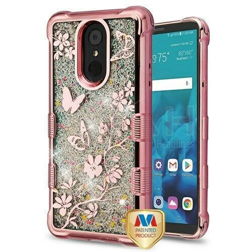 Butterfly Flowers/Sparkle TUFF Glitter Hybrid Cover for LG Stylo 4 Plus/Stylo 4