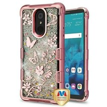 Butterfly Flowers/Sparkle TUFF Glitter Hybrid Cover for LG Stylo 4 Plus/... - $11.39