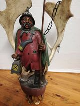 Rare Antique Germany 1930 black forest ceiling lamp wood carved Lüstermännchen image 3