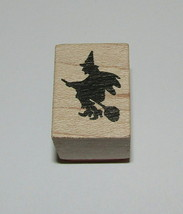 Witch Flying Stamp New Halloween Broom Hero Arts Wood Mounted 1 Inch High - $4.45