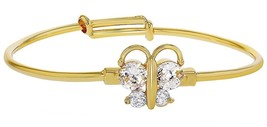 18k Gold Plated Clear Crystal Butterfly Baby Bangle Bracelet For Babies - $32.65