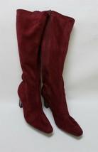 Aerosole Womens Boots Heels Side Zipper Fabric Upper Burgundy Size US 10 M - $49.45