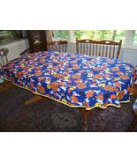 Halloween cotton tablecloth witches ghosts spiders pumpkins 60X94 oval - $38.50