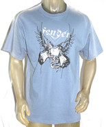 NWT FENDER CUSTOM men casual crewneck short sleeve blue guitars skull TS... - $22.44