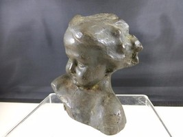 Antique Art Nouveau Baby Toddler Child Bust BRONZE Flying Hair - $199.99
