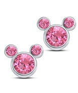 Mickey Mouse Stud Earrings Round Cut Pink CZ 14k White Gold 925 Sterling... - $43.60