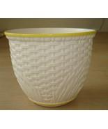 Vintage Haeger Pottery Large Round White Basket Weave Yellow Trim #5052 ... - $49.45