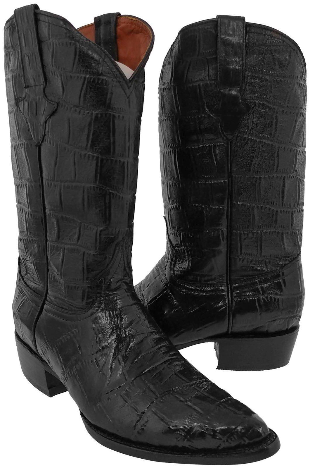 Men/'s New  Ostrich Crocodile Design Leather Cowboy Western Boots Cognac J Toe