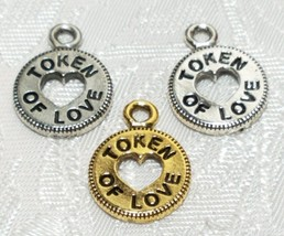 TOKEN OF LOVE FINE PEWTER PENDANT CHARM - 12.5x17x1.5mm