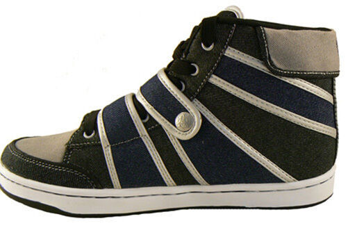 Public Royalty Black Blue Zaq High Top Denim Sneaker Shoes NIB