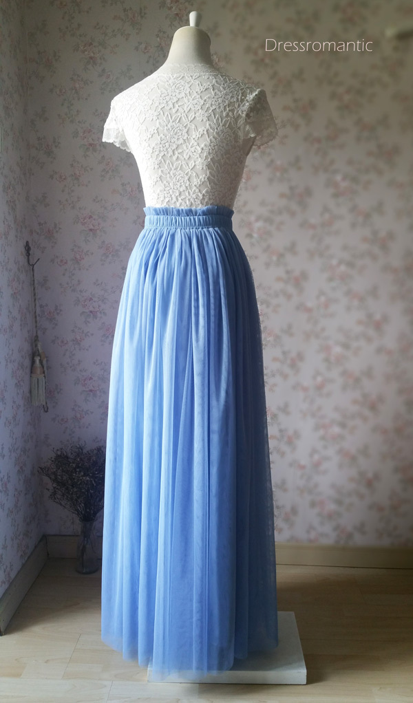 DUSTY BLUE Maxi Tulle Skirt Women Plus Size Tulle Skirts Blue Bridesmaid Skirts