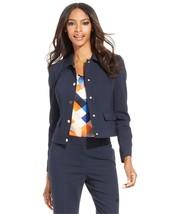 1671  Anne Klein Womens Navy Blue Snap Button Seamed Jacket Blazer Sz 12... - $46.27