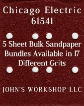 Chicago Electric 61541 - 1/4 Sheet - 17 Grits - No-Slip - 5 Sandpaper Bulk Bdls - $7.14