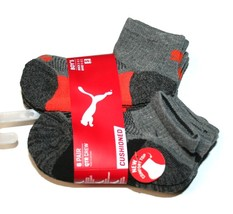 Puma 6 Pair Quarter Crew Cushioned Boy's Socks, Grey (Sock: 5-6.5, Shoe:... - $16.00