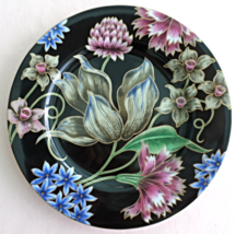 "Looks Like Fitz and Floyd, Beautiful Black & Floral Porcelain Plate  "" F... - $15.99"