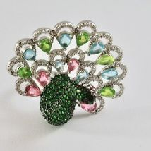 925 Silver Ring Rhodium and Burnished with Zircon Cubic Shaped Peacock image 7