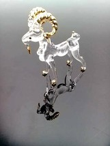 Goat HandBlown Clear Glass Figurine Zodiac Animal Miniature Collectible ... - $9.74