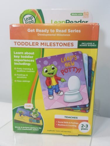 LEAP FROG LEAP READER JUNIOR BOOK SET: TODDLER MILESTONES NWT 4 INTERACTIVE BOOK