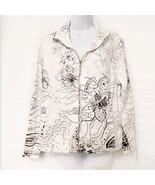 Black White Soft Summer Cruise Zipped Up Blazer Jacket Medium - $13.86