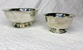 "2 Vintage Silver Plate Revere Bowls 1 Gorham EP YC779 1 Lunt M-5  4"" & 3' - $29.69"