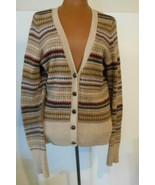 H&M LOGG Fair Isle Large Patch Elbow Leather Like Button Front Cardigan ... - $18.46