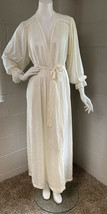 Vintage Miss Elaine Silky Nylon Long Robe Small Ivory - $24.19