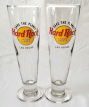 Hard Rock Cafe Las Vegas Pilsner Beer Glasses 14 Ounces 2 Fluted Save th... - $19.99