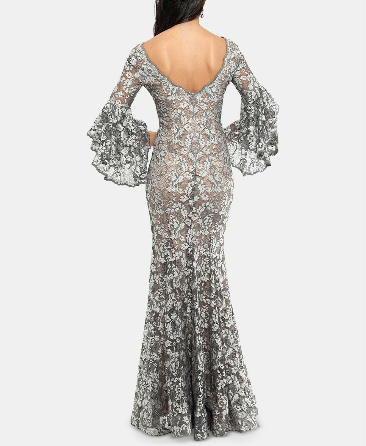 Betsy & Adam Embellished Lace Gown Grey/Nude Plus Size 14W $355 image 2
