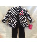 Adorable Girls Black/White Polka Dot Ruffled Fleece Coat Top Cords, Youn... - $35.27+