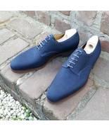 Men Handmade Blue Shoes, Men Pure Suede Lace Up Oxford Brogue Dress Fash... - $159.97+