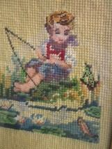 ANTIQUE NEEDLEPOINT PETIT POINT in GILDED WOOD FRAME BOY FISHING in LILY... - £10.98 GBP