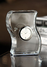 Marquis by Waterford Lead Crystal Wave Table Clock MADE IN SLOVAKIA CLEA... - $94.50