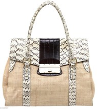 DOLCE & GABBANA Bag Tote Rattan Wicker Snakeskin Leather Brown Cream Gol... - $745.21 CAD