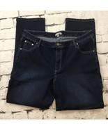 Woman Within Plus Sz 18W Jeans Dark Blue Denim Stretch Straight Leg  - $19.79