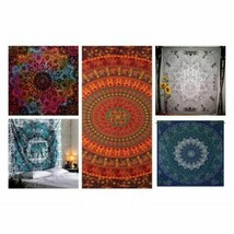 5 Pcs Lot Indian Tapestry Wall Hanging Mandala  Bedspread Throw Bohemian... - $63.56