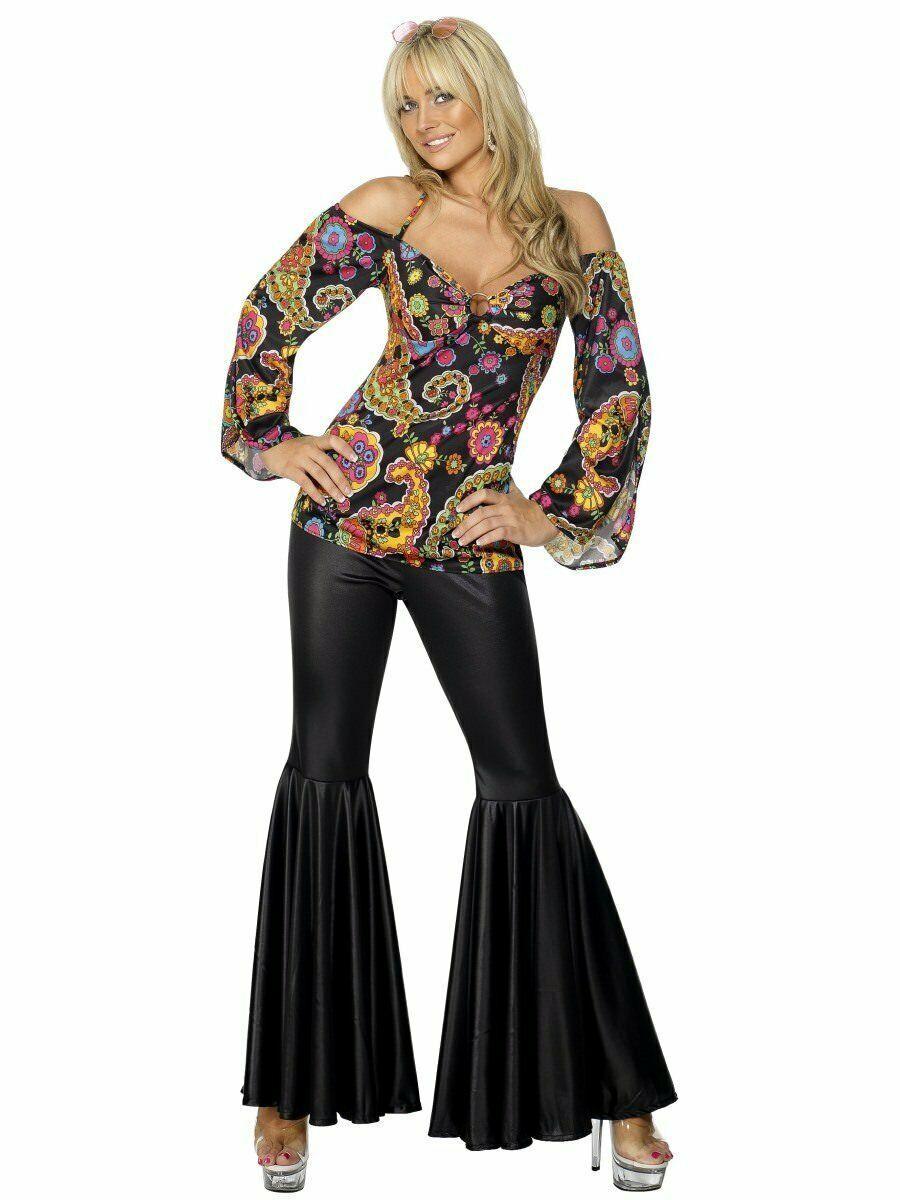 Smiffys Hippy Años 60 70 Disco de Campana Pantalones Adulto Mujer Disfraz